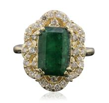 14KT Yellow Gold 3.44ct Emerald and Diamond Ring