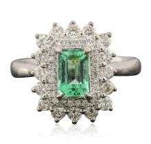 18KT White Gold 1.05ct Emerald and Diamond Ring