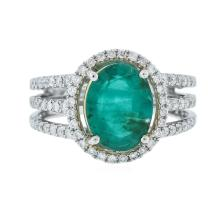 14KT Two-Tone Gold 2.21ct Emerald and Diamond Ring