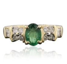 14KT Yellow Gold 0.65ct Emerald and Diamond Ring