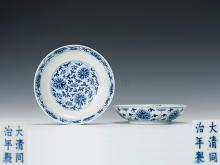 Tongzhi blue Lotus pattern plate one pair
