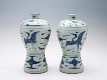 """Big next year"" system Yunhe blue and white pattern vase one pair"