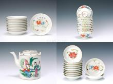Pastel Floral dish twenty-one and bowl ten characters teapot and Yang Zhengshun produced pastels