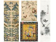 Under a pair of silk embroidery scroll landscapes, flowers and birds silk embroidery and silk embroidery Magpie Fairies Two small Penglai