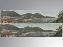 Hong Kong's waterfront one pair of silk embroidery