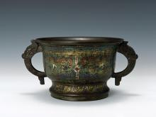 Qing enameled copper fetal wrong metallic yarn taotie CENSER