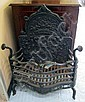 FIRE GRATE, cast iron with ornate back and