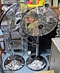 FLOOR STANDING FANS, a pair, in chrome, 110cm H.