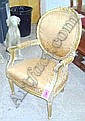 FAUTEUILS, a pair, Louis XVI style giltwood, with oval backs and seats, in brown patterned upholstery. (2)