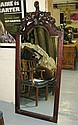 WALL MIRROR, mahogany with narrow arched bevelled