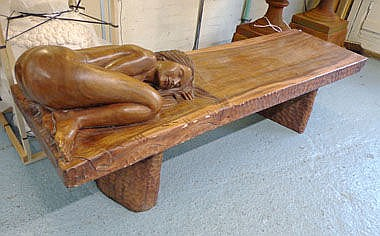 LOW TABLE, Balinese carving with a nude sleeping
