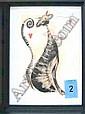 PRINTS, a pair, 'Parisian Cats', 33cm x 44cm. (2)