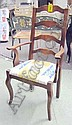 DINING CHAIRS, a set of ten (including one carver), Country style, ladder backs, upholstered seats and cabriole legs, with ten spare rush drop in seats. (10)