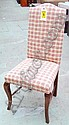 DINING CHAIRS, set of six, in Gingham style fabric, on swept supports. (6)