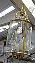 HALL LANTERN, in brass frame, 74cm H, (one glass