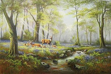 WENDY REEVES, 'Bluebells and Fallow Deer', oil on
