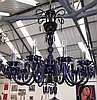 CHANDELIER, blue glass, ten branch, 91cm W x 98cm
