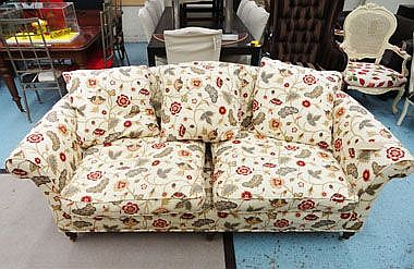 SOFA, two seater, cream floral patterned on turned