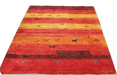 GABBEH RUG, 191cm x 150cm, the abrashed red/yellow