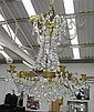 CHANDELIER, five branch, in brass with glass