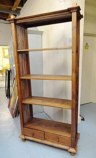 OPEN BOOKCASE, with three shelves and two drawers