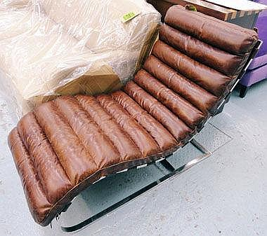 CHAISE LONGUE, brown ribbed leather on chrome