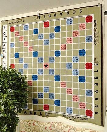 SCRABBLE RUG, with leather bindings, 197cm x