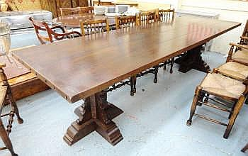 REFECTORY TABLE, Arts and Crafts style oak, with