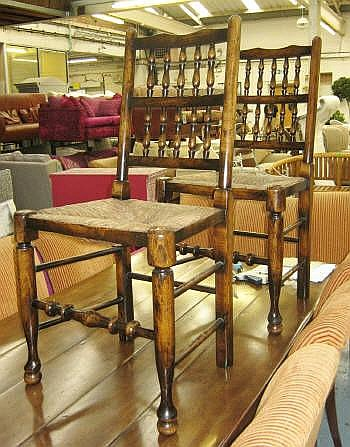 DINING CHAIRS, a set of twelve, Lancashire style