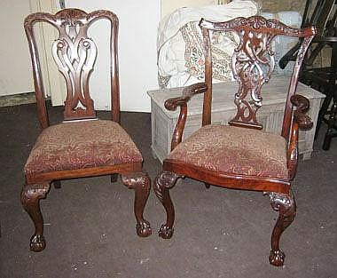 DINING CHAIRS, a set of eight, Chippendale style,