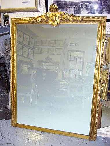 OVERMANTEL, French style, gilt framed with a