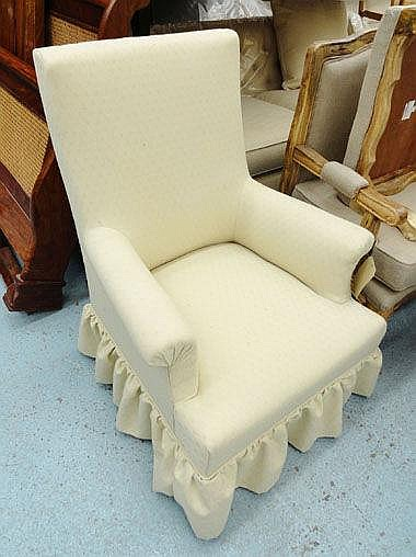 ARMCHAIR, with cream trellis patterned upholstery,