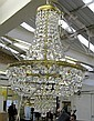 CHANDELIER, with cut glass droplets, in a brass