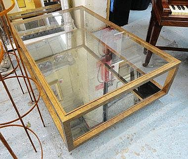 LOW TABLE, glass top with mirrored bottom shelf,