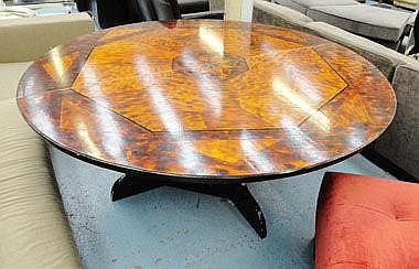 DINING TABLE, circular with segmented top on