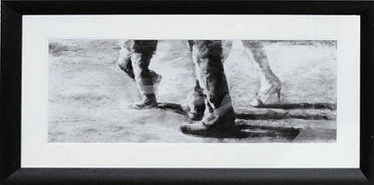 ORIGINAL CHARCOAL DRAWING, 'Family Stroll' by R.
