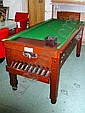 BAR BILLIARD TABLE, 1960s, on wooden frame, score board and cue, 87cm wide x 192cm long.