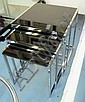 NEST OF THREE TABLES, chromed metal frames and