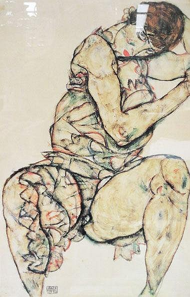 AFTER EGON SCHIELE, 'Woman seated', lithograph,