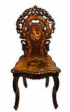 Chair, Marquetry, Carved Black Forest, Inlaid