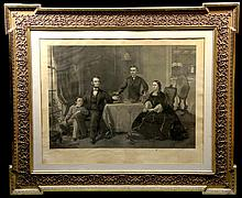 Engraving, gilt frame Lincoln & His Family, c1870
