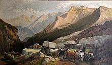 Chromolithograph, Carrara Marble Quarry, 1871