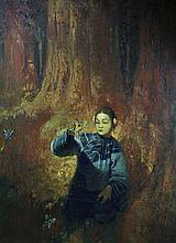 O/C Oriental Woman in Forest, Otto E. Hake