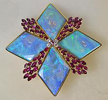 Brooch 18k, YG, Opal, Ruby, Diamond