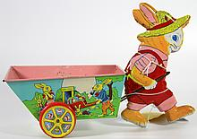 Toy Chein Rabbit w/Cart, 1950