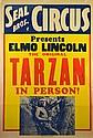 Seal Bros. Circus Poster, Tarzan, 1920's