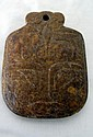 Chinese carved russet brown jade plaque 8cms