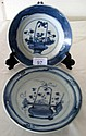 Two Chinese Ming plates with flower baskets 15.5cm