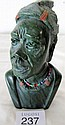 Small African green marble bust signed J.Nthako