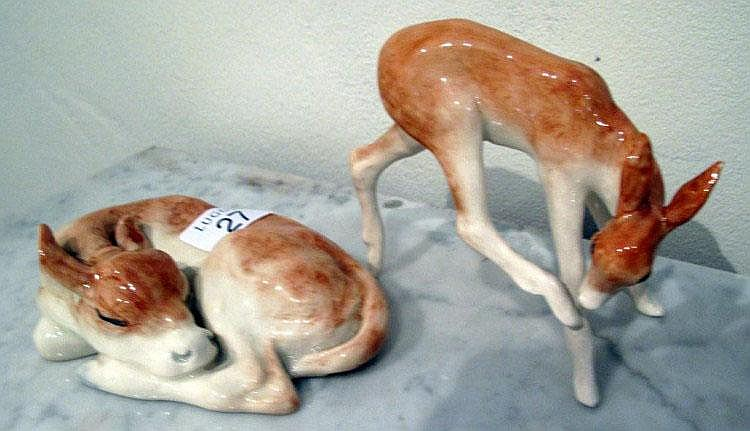 Royal Doulton figure of sleeping deer & a baby doe
